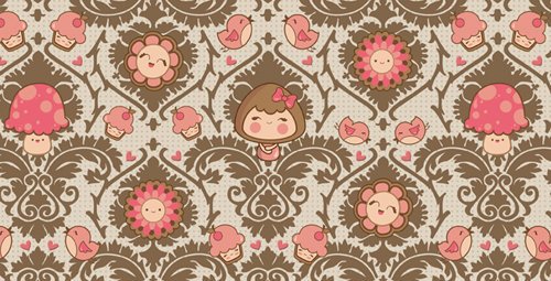 Victorian kawaii pattern by maiiko
